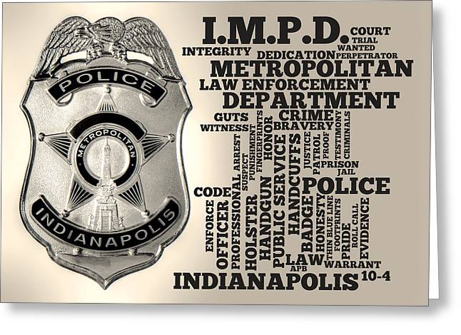 Indianapolis Metropolitan Police Department Silver Greeting Card by Dave Lee