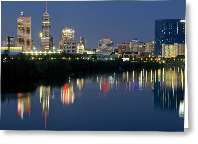 Indianapolis Night Greeting Card by Frozen in Time Fine Art Photography