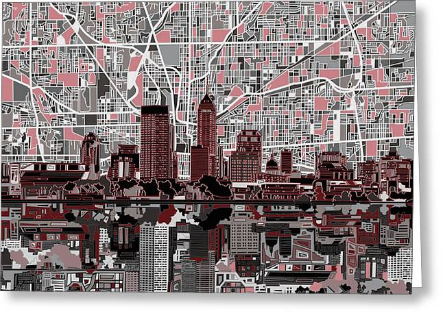 Indianapolis Skyline Abstract 1 Greeting Card by Bekim Art
