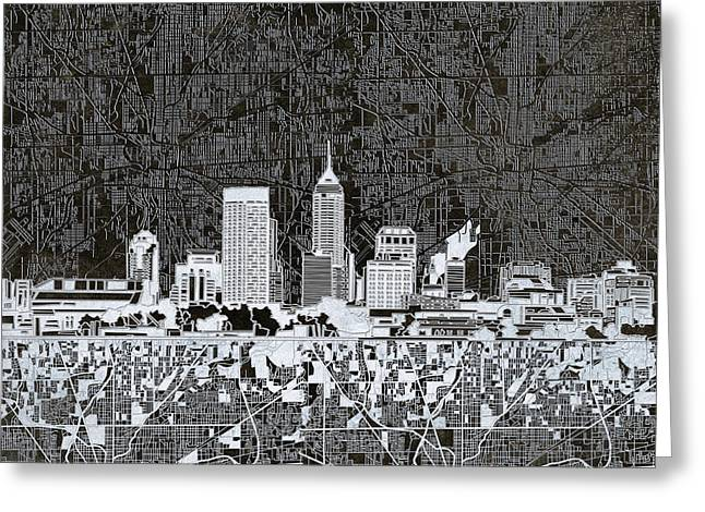 Indianapolis Skyline Abstract 10 Greeting Card