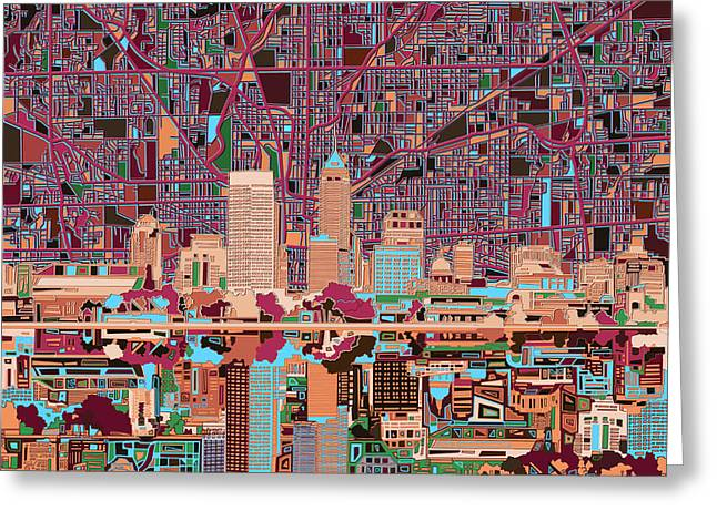 Indianapolis Skyline Abstract 4 Greeting Card