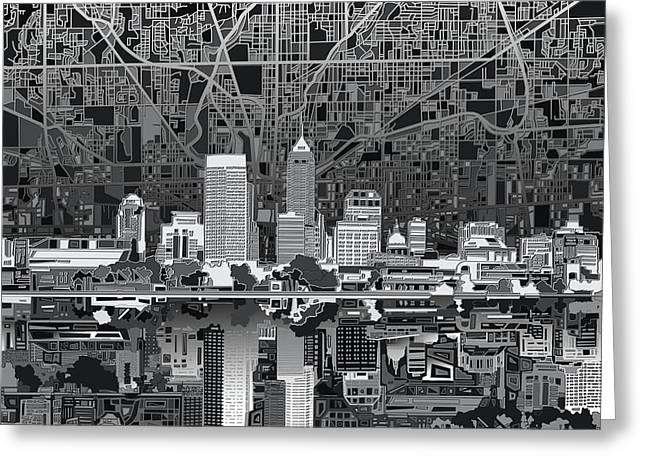 Indianapolis Skyline Abstract 5 Greeting Card