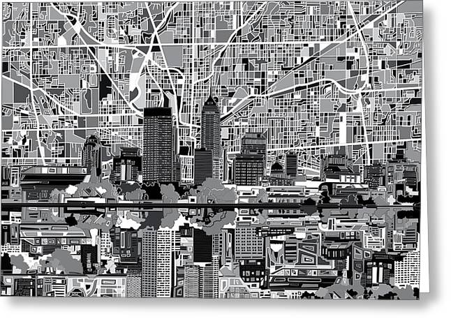Indianapolis Skyline Abstract 6 Greeting Card by Bekim Art