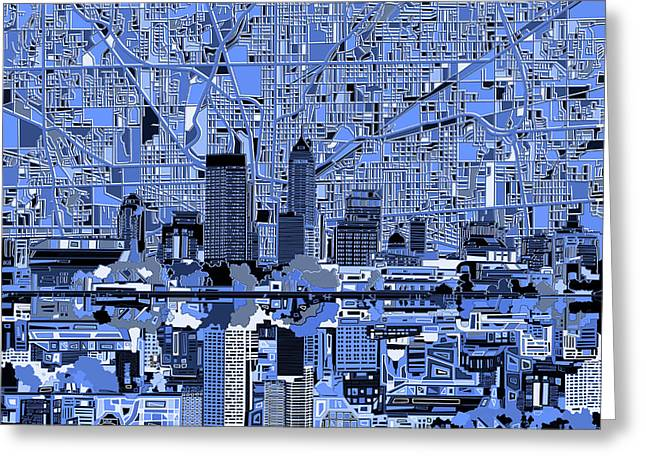Indianapolis Skyline Abstract 7 Greeting Card