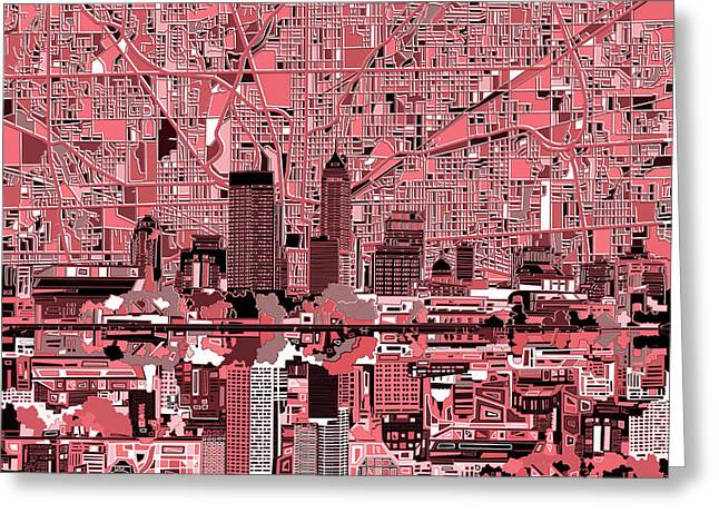 Indianapolis Skyline Abstract 8 Greeting Card
