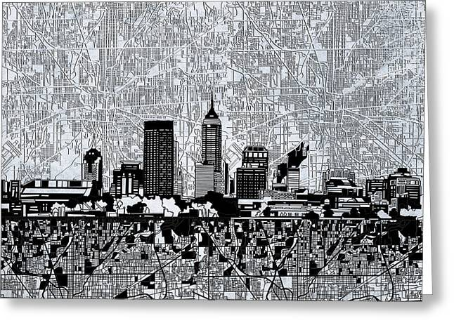Indianapolis Skyline Abstract 9 Greeting Card
