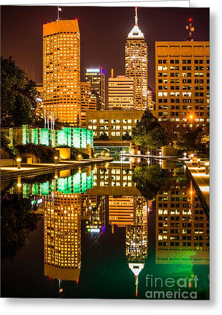 Indianapolis Skyline At Night Canal Reflection Picture Greeting Card by Paul Velgos