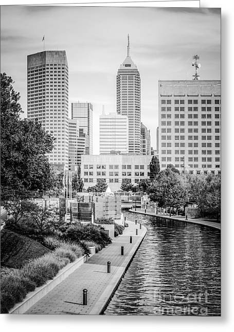 Indianapolis Skyline Black And White Photo Greeting Card