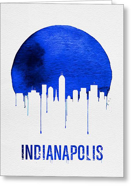 Indianapolis Skyline Blue Greeting Card