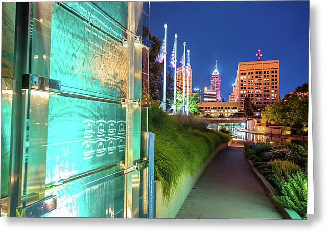 Indianapolis Skyline From The Veterans Memorial Greeting Card by Gregory Ballos