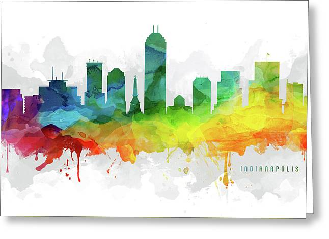 Indianapolis Skyline Mmr-usinin05 Greeting Card by Aged Pixel
