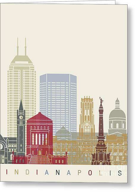 Indianapolis Skyline Poster Greeting Card by Pablo Romero