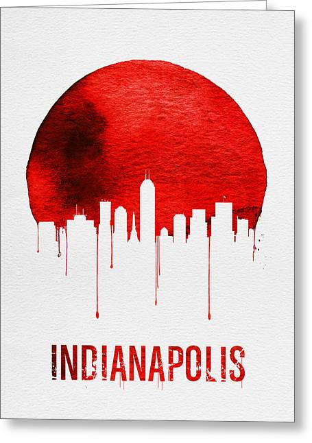 Indianapolis Skyline Red Greeting Card