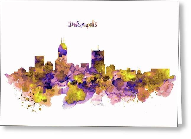 Indianapolis Skyline Silhouette Greeting Card