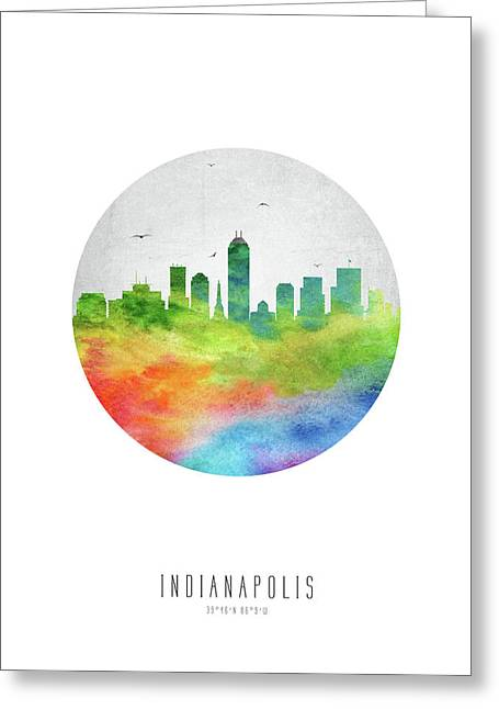 Indianapolis Skyline Usinin20 Greeting Card by Aged Pixel