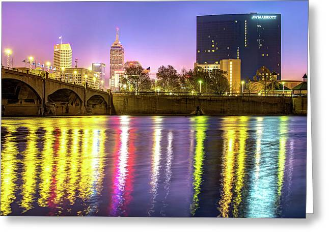 Indianapolis Skyline Water Reflections Greeting Card by Gregory Ballos