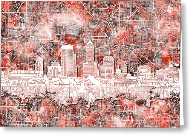 Indianapolis Skyline Watercolor 10 Greeting Card by Bekim Art