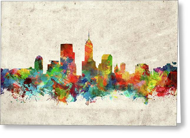 Indianapolis Skyline Watercolor 2 Greeting Card by Bekim Art