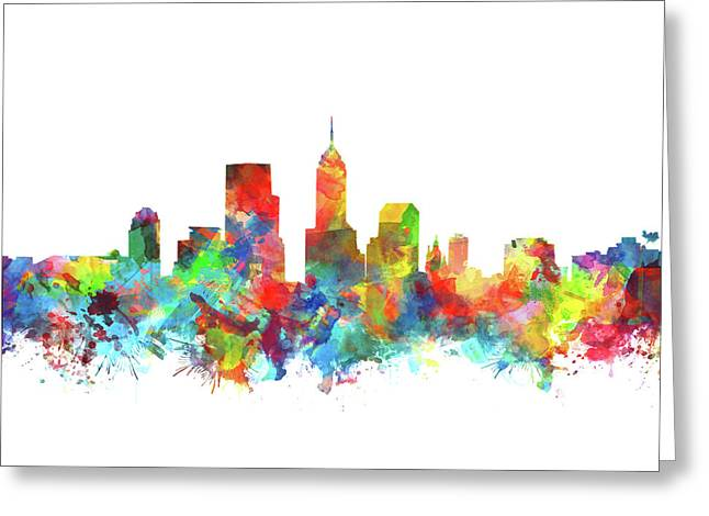 Indianapolis Skyline Watercolor 3 Greeting Card by Bekim Art