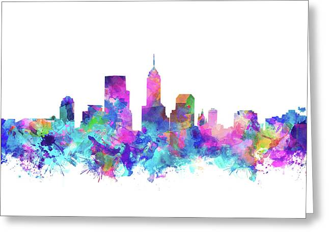 Indianapolis Skyline Watercolor 4 Greeting Card by Bekim Art