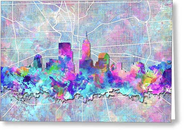 Indianapolis Skyline Watercolor 5 5 Greeting Card by Bekim Art