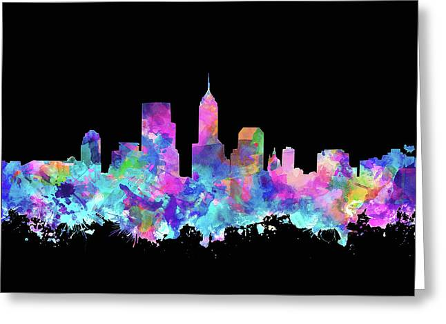 Indianapolis Skyline Watercolor 6 Greeting Card by Bekim Art