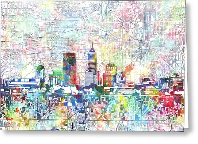 Indianapolis Skyline Watercolor 7 Greeting Card by Bekim Art