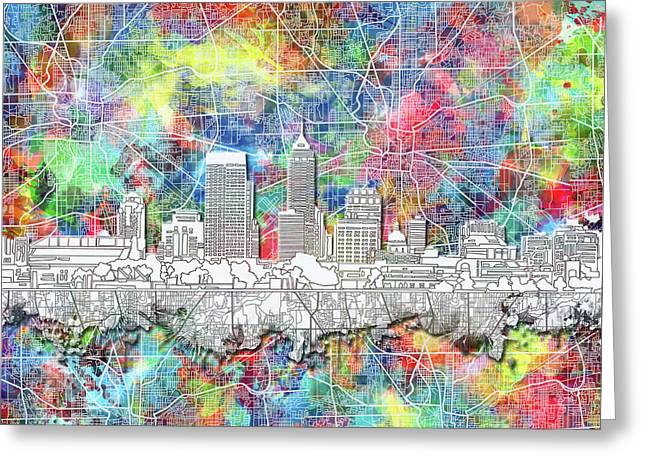 Indianapolis Skyline Watercolor 8 Greeting Card by Bekim Art