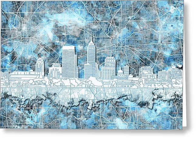 Indianapolis Skyline Watercolor 9 Greeting Card by Bekim Art
