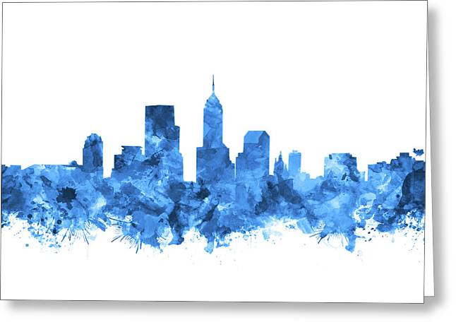 Indianapolis Skyline Watercolor Blue Greeting Card by Bekim Art
