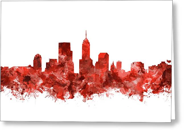 Indianapolis Skyline Watercolor Red Greeting Card by Bekim Art