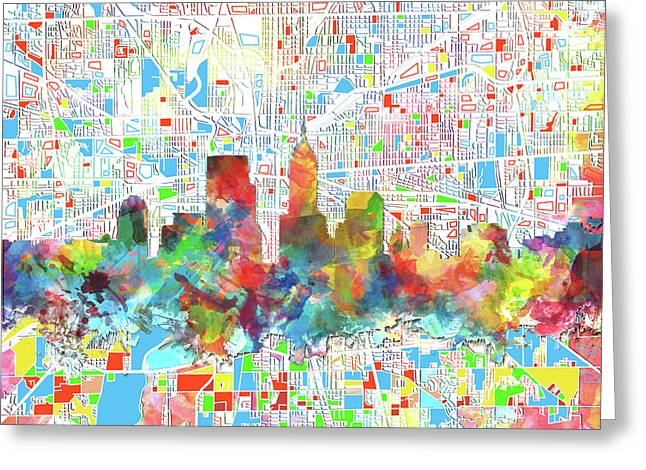 Indianapolis Watercolor Skyline Greeting Card by Bekim Art