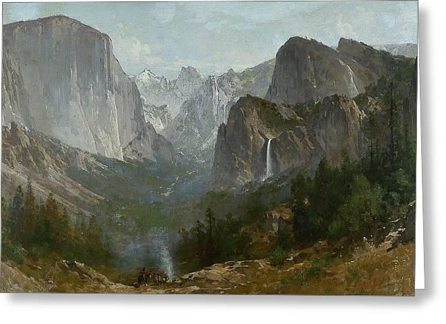Indians At Campfire Yosemite Valley Greeting Card