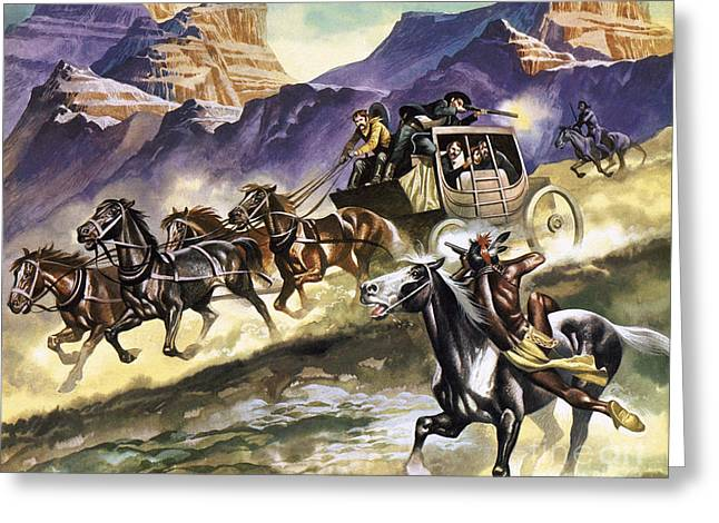 Indians Attacking A Stage Coach Greeting Card