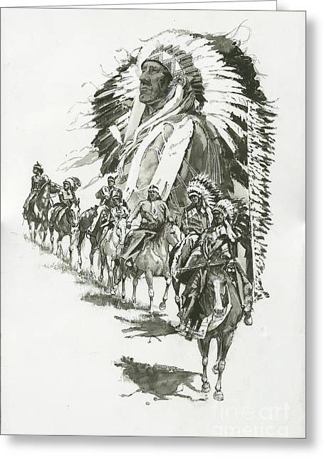 Indians-chief Horseback Riders Greeting Card by Don  Langeneckert