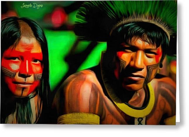 Indians Of Brazil - Da Greeting Card by Leonardo Digenio