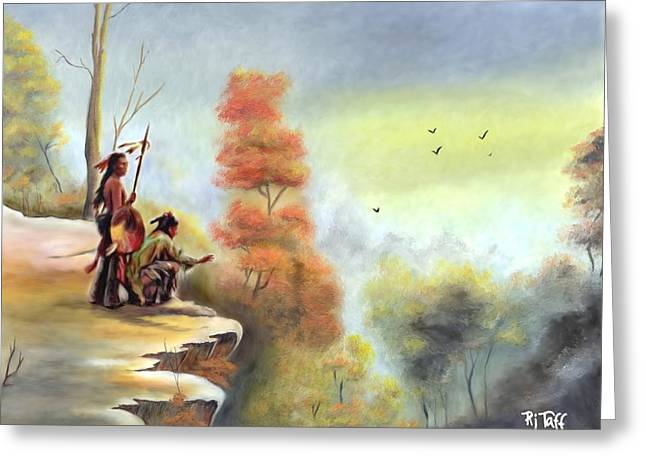 Indians On The Bluff Greeting Card