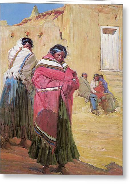 Indians Outside Taos Pueble Greeting Card by Gerald Cassidy