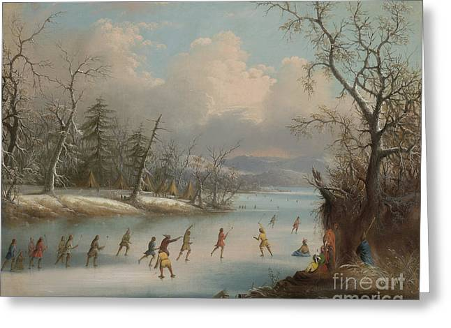 Indians Playing Lacrosse On The Ice, 1859 Greeting Card by Edmund C Coates