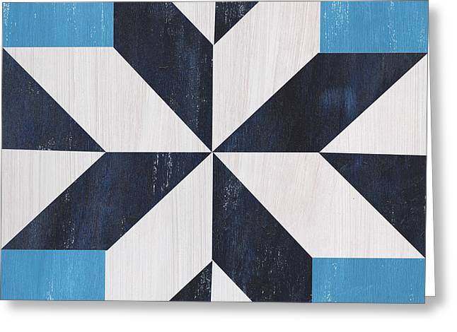 Indigo And Blue Quilt Greeting Card