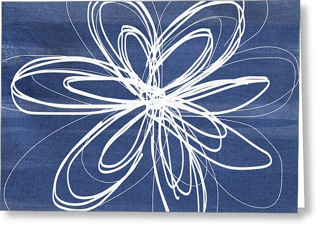 Indigo And White Flower- Art By Linda Woods Greeting Card