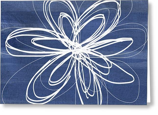 Indigo And White Flower- Art By Linda Woods Greeting Card