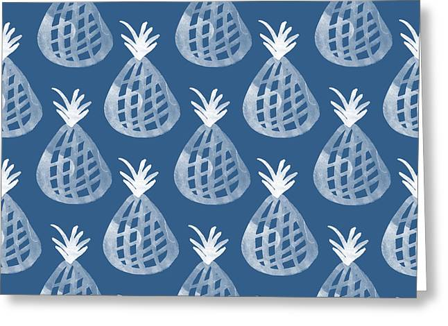 Stationary Greeting Cards - Indigo and White Pineapple Party Greeting Card by Linda Woods