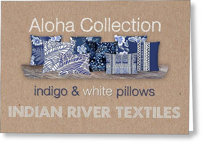 Indigo Batik Pillow Collection Greeting Card