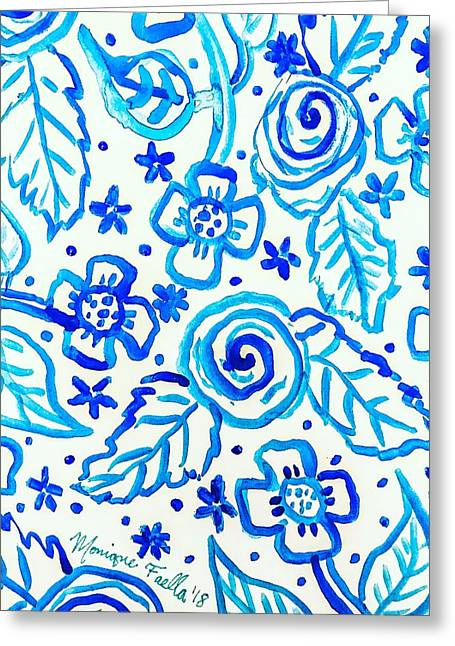 Indigo Blooms Greeting Card
