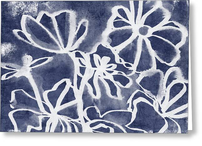 Indigo Floral 3- Art By Linda Woods Greeting Card