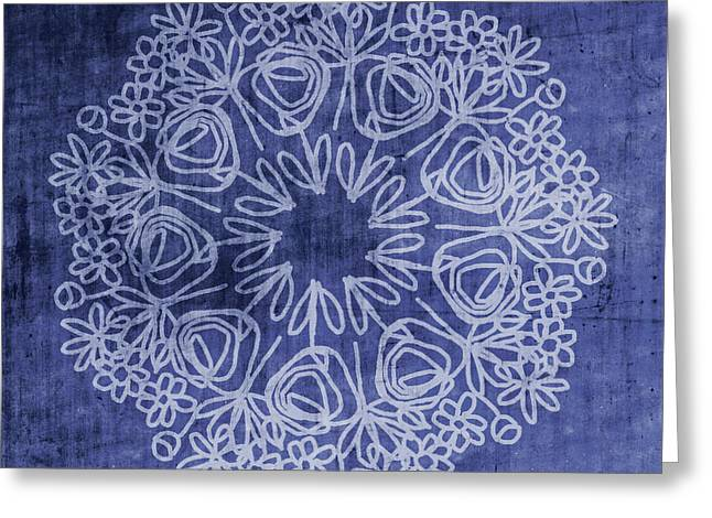Indigo Mandala 1- Art By Linda Woods Greeting Card