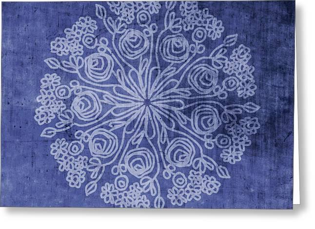 Indigo Mandala 2- Art By Linda Woods Greeting Card