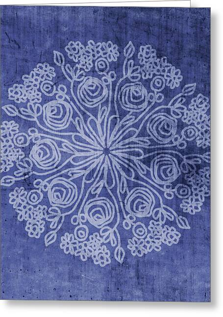 Indigo Mandala 2- Art By Linda Woods Greeting Card