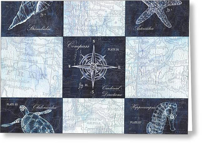 Indigo Nautical Collage Greeting Card by Debbie DeWitt